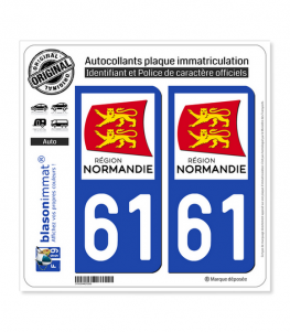 61 Normandie - LogoType | Autocollant plaque immatriculation