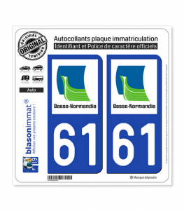 61 Basse-Normandie - LogoType | Autocollant plaque immatriculation