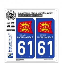 61 Normandie - Région II | Autocollant plaque immatriculation