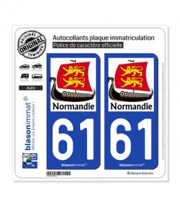61 Normandie - Drakkar | Autocollant plaque immatriculation