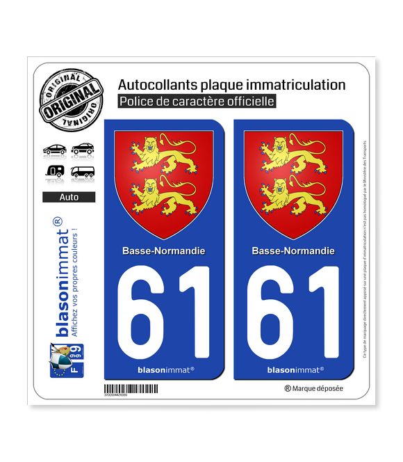61 Basse-Normandie - Armoiries | Autocollant plaque immatriculation