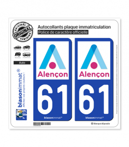 61 Alençon - Ville | Autocollant plaque immatriculation