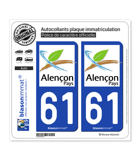 61 Alençon - Tourisme | Autocollant plaque immatriculation