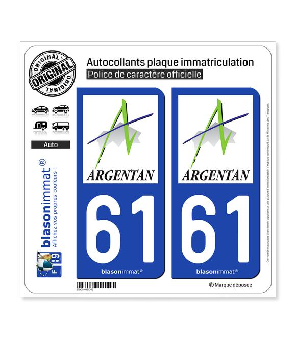 61 Argentan - Ville | Autocollant plaque immatriculation