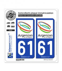 61 Argentan - Agglo | Autocollant plaque immatriculation