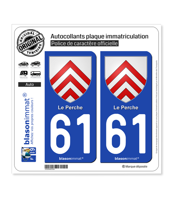 61 Le Perche - Armoiries | Autocollant plaque immatriculation