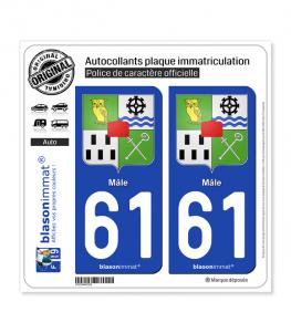 61 Mâle - Armoiries | Autocollant plaque immatriculation