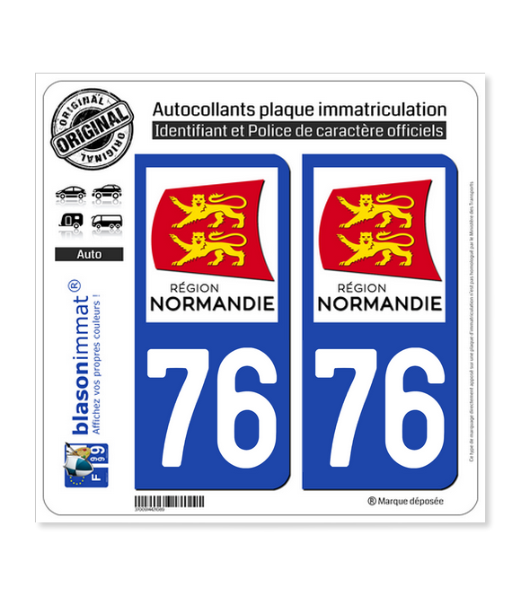76 Normandie - LogoType   Autocollant plaque immatriculation