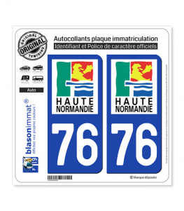 76 Haute-Normandie - LogoType | Autocollant plaque immatriculation