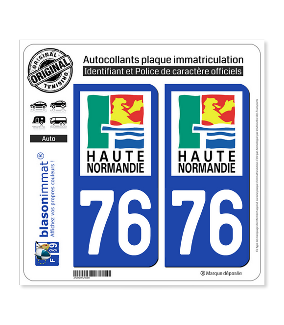 76 Haute-Normandie - LogoType | Autocollant plaque immatriculation