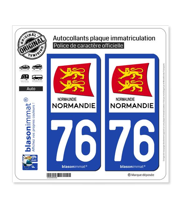 76 Normandie - Région   Autocollant plaque immatriculation
