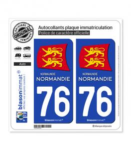 76 Normandie - Région II | Autocollant plaque immatriculation