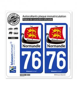 76 Normandie - Drakkar | Autocollant plaque immatriculation