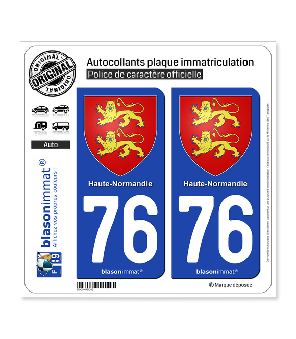 76 Haute-Normandie - Armoiries | Autocollant plaque immatriculation