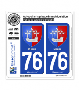 76 Dieppe - Armoiries | Autocollant plaque immatriculation