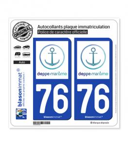 76 Dieppe - Tourisme | Autocollant plaque immatriculation