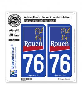 76 Rouen - Ville | Autocollant plaque immatriculation