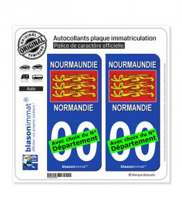 Normandie - Drapeau 3 Léopards | Autocollant plaque immatriculation