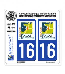 16 Poitou-Charentes - LogoType | Autocollant plaque immatriculation