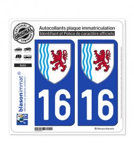 16 Nouvelle-Aquitaine - LogoType | Autocollant plaque immatriculation