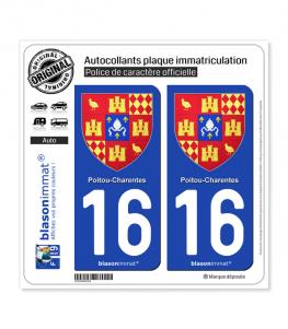 16 Poitou-Charentes - Armoiries II | Autocollant plaque immatriculation