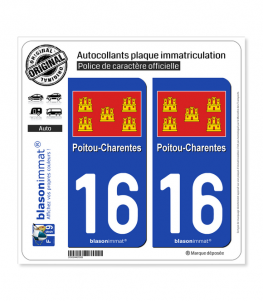 16 Poitou-Charentes - Drapeau | Autocollant plaque immatriculation
