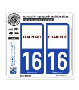 16 Charente - Département | Autocollant plaque immatriculation