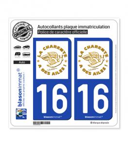 16 Charente - Label | Autocollant plaque immatriculation
