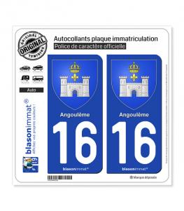 16 Angoulême - Armoiries | Autocollant plaque immatriculation