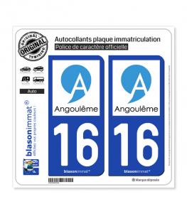16 Angoulême - Ville | Autocollant plaque immatriculation