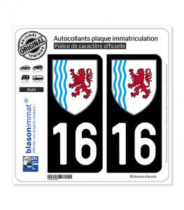 16 Nouvelle-Aquitaine - LogoType   Autocollant plaque immatriculation