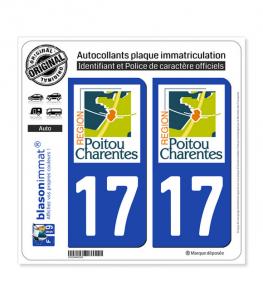 17 Poitou-Charentes - LogoType | Autocollant plaque immatriculation