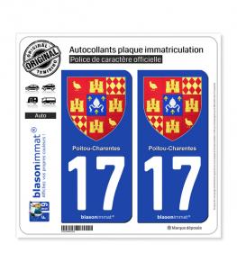 17 Poitou-Charentes - Armoiries II | Autocollant plaque immatriculation