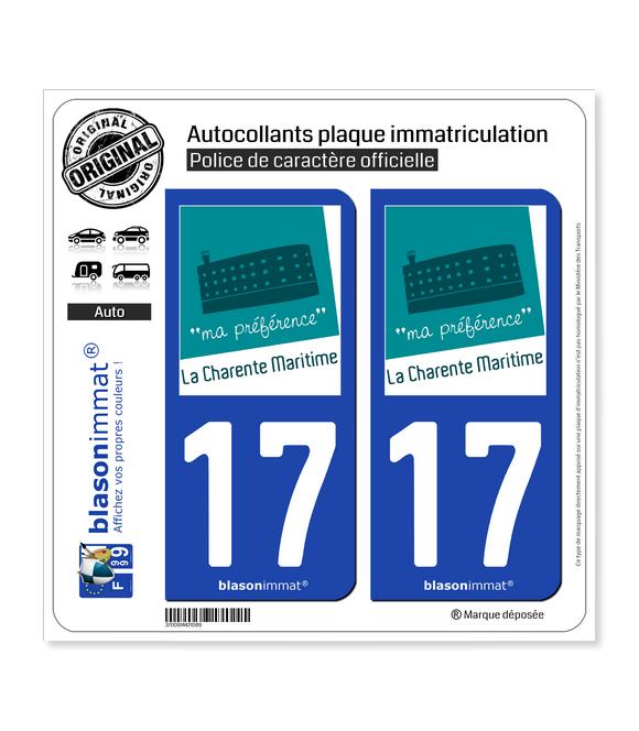 17 Charente-Maritime - Tourisme | Autocollant plaque immatriculation