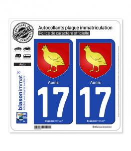 17 Aunis - Armoiries | Autocollant plaque immatriculation