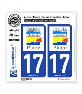 17 Châtelaillon-Plage - Commune | Autocollant plaque immatriculation