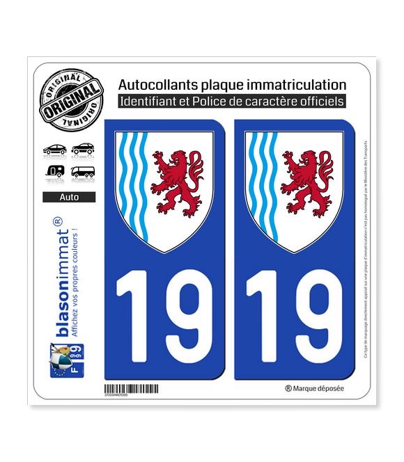 19 Nouvelle-Aquitaine - LogoType | Autocollant plaque immatriculation