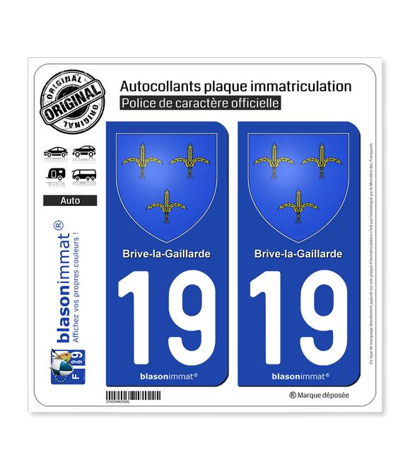 19 Brive-la-Gaillarde - Armoiries | Autocollant plaque immatriculation