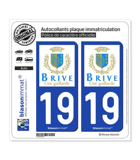 19 Brive-la-Gaillarde - Ville | Autocollant plaque immatriculation