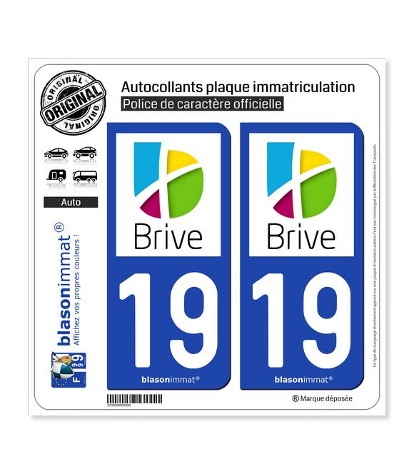 19 Brive-la-Gaillarde - Agglo | Autocollant plaque immatriculation