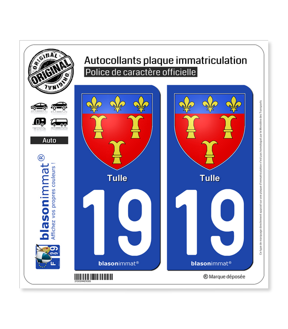 19 Tulle - Armoiries | Autocollant plaque immatriculation