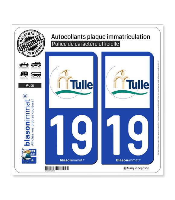 19 Tulle - Ville | Autocollant plaque immatriculation