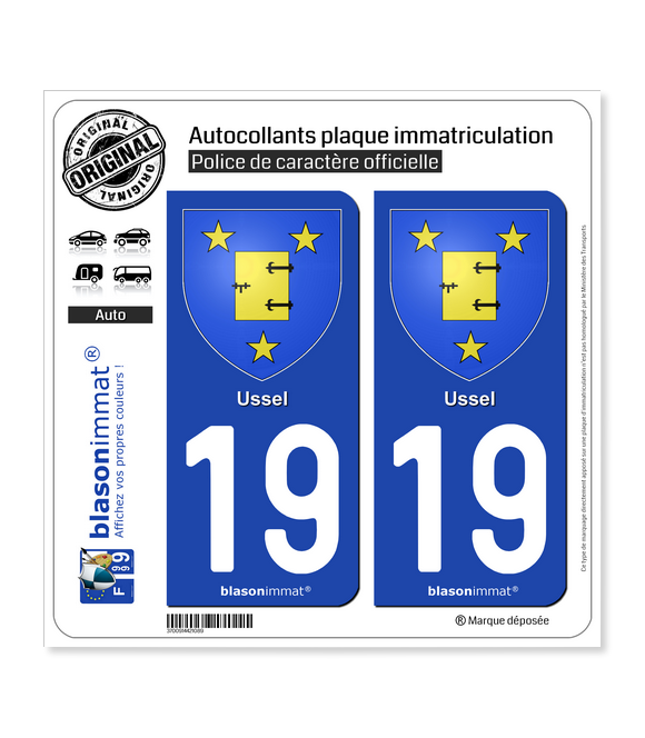 19 Ussel - Armoiries | Autocollant plaque immatriculation