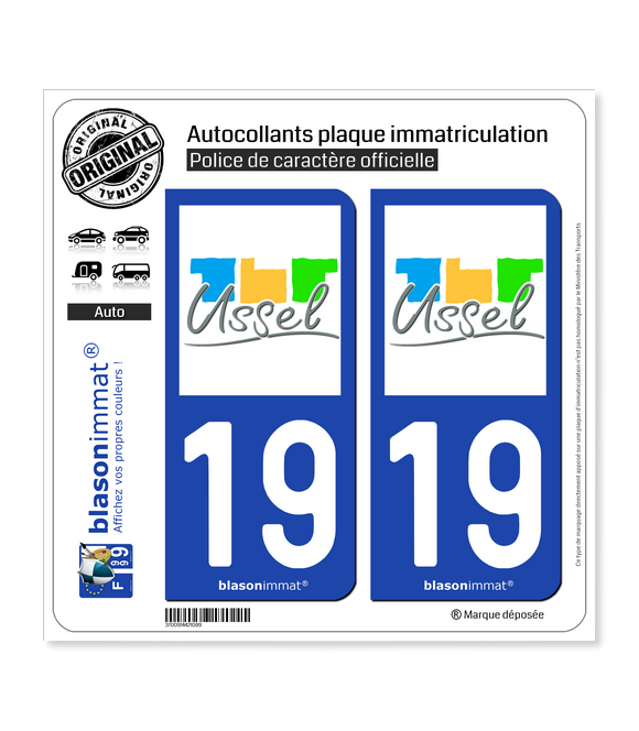 19 Ussel - Ville | Autocollant plaque immatriculation