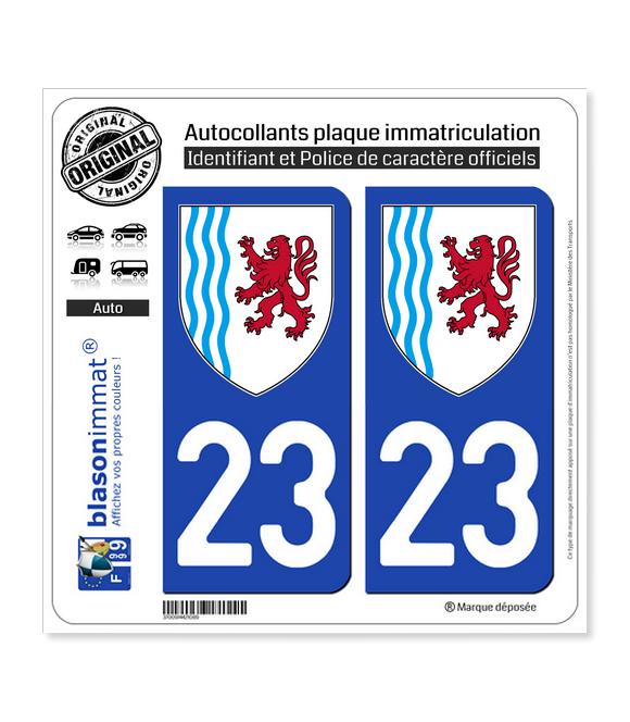 23 Nouvelle-Aquitaine - LogoType   Autocollant plaque immatriculation