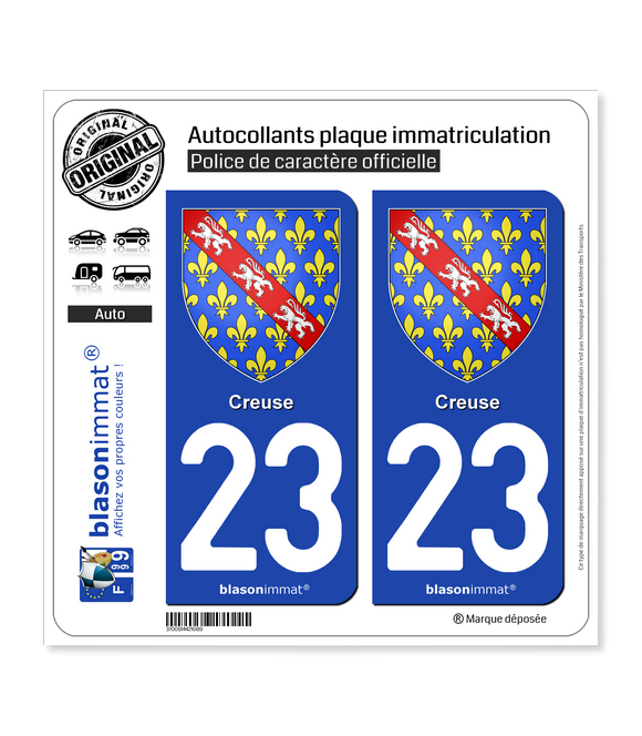 23 Creuse - Armoiries | Autocollant plaque immatriculation