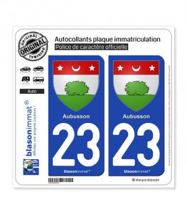 23 Aubusson - Armoiries | Autocollant plaque immatriculation
