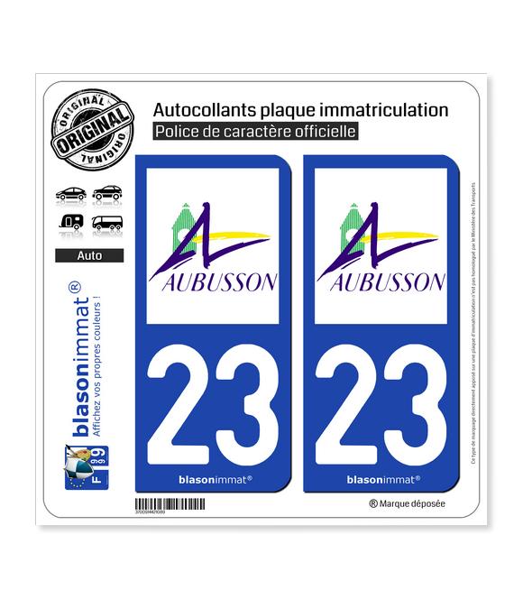 23 Aubusson - Ville | Autocollant plaque immatriculation
