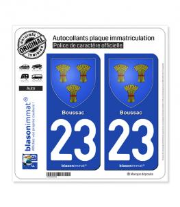 23 Boussac - Armoiries | Autocollant plaque immatriculation