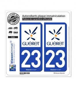 23 Guéret - Ville | Autocollant plaque immatriculation
